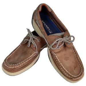 Sperry Lanyard Boat Shoe, Men's size 9 1/2, brown & tan